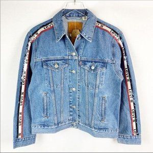 NEW Levi's Sequin Logo Tape Spell Out Denim Jacket